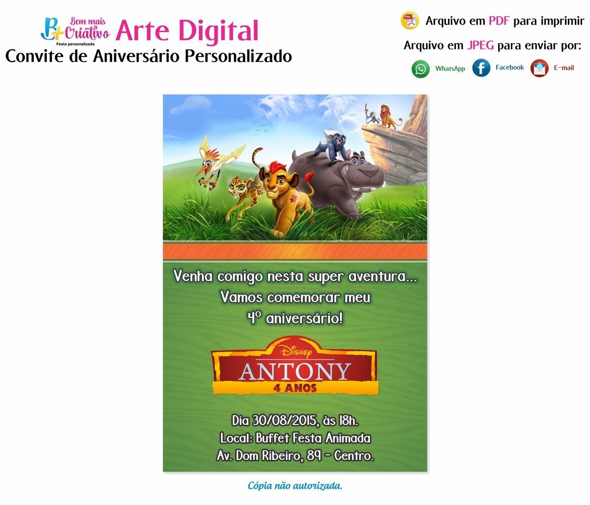9fe8bf11c80c1 Convite A Guarda Do Leão - Arte Digital - Envio Por E-mail - R  19 ...