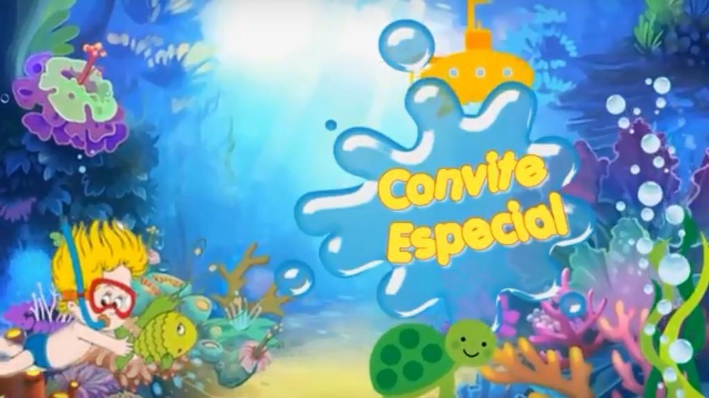 Convite Animado Virtual Whatsapp Fundo Do Mar Menino Menina R 25