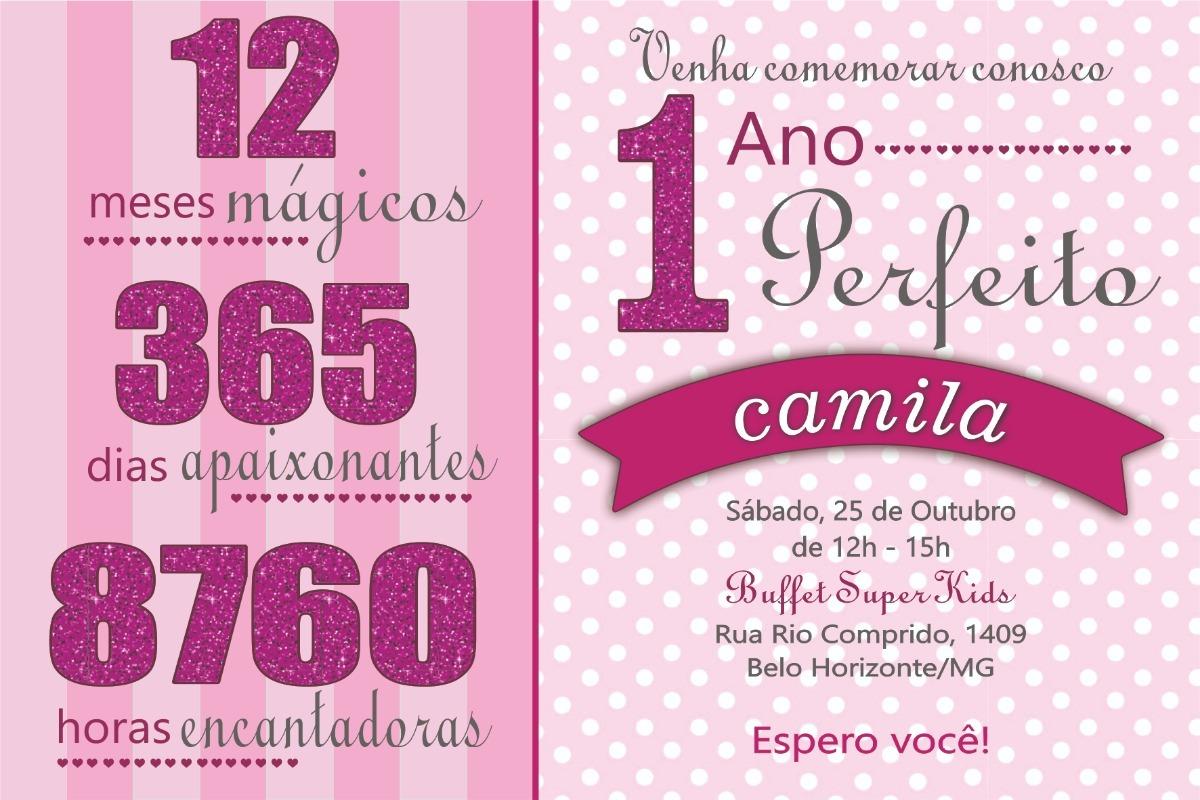 Convite Aniversário 1 Ano 50 Unid Rosa Frete Grátis R 35