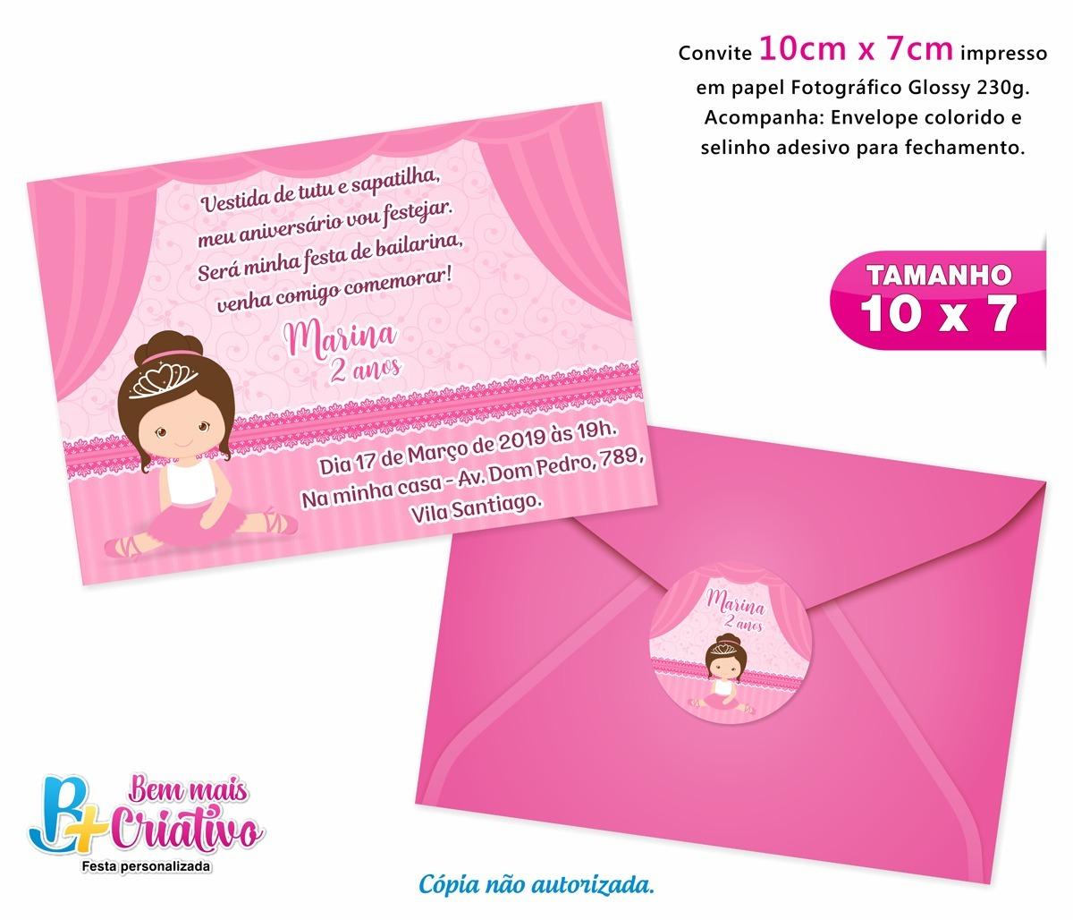 16c91e19b5 Convite Aniversário Bailarina - 35 Unidades - 10cm X 7cm - R  48