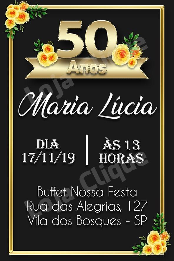 Convite Aniversario Digital Feminino 50 Anos Preto Dourado R 16
