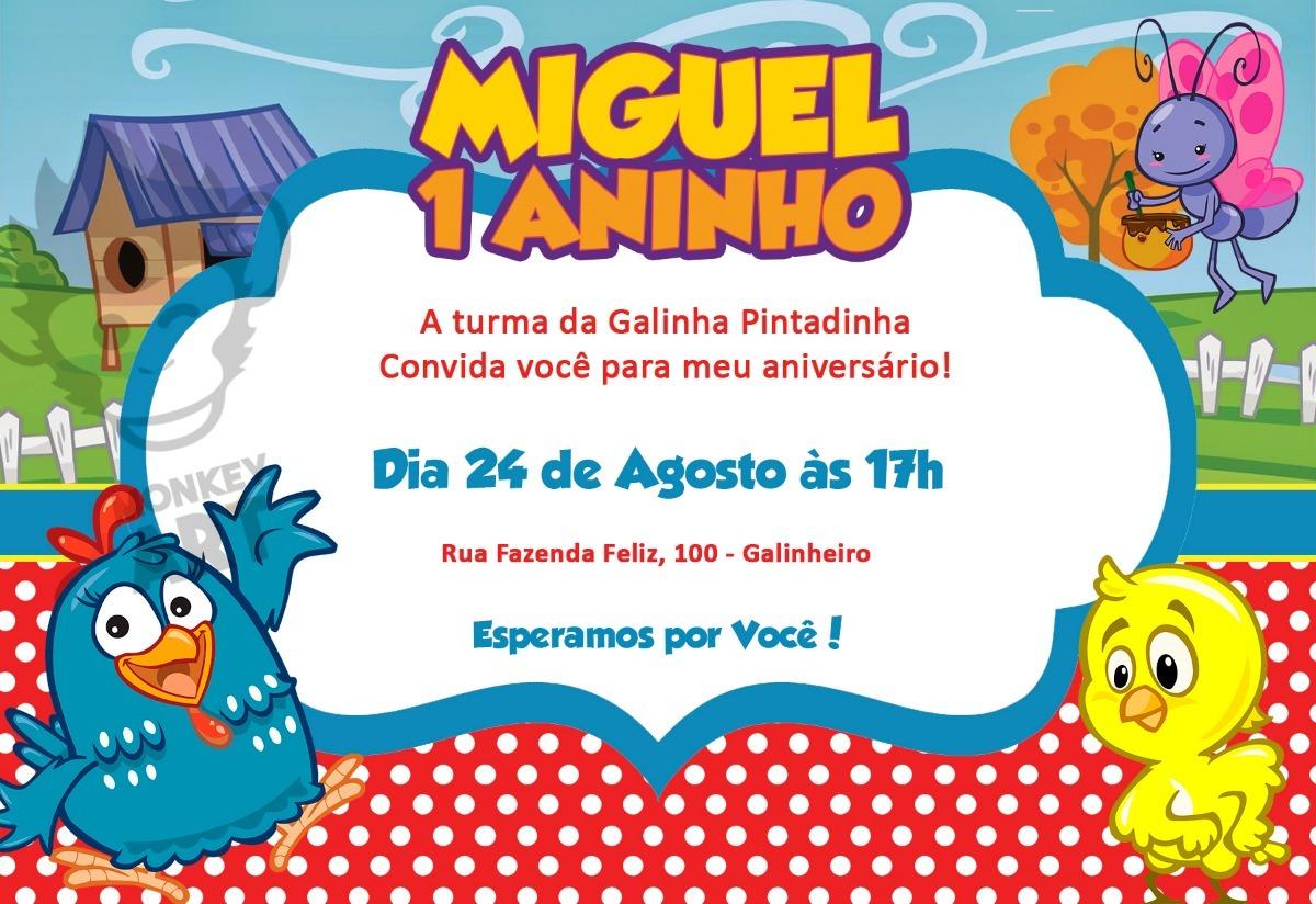 Convite Aniversário Galinha Pintadinha Arte Digital R
