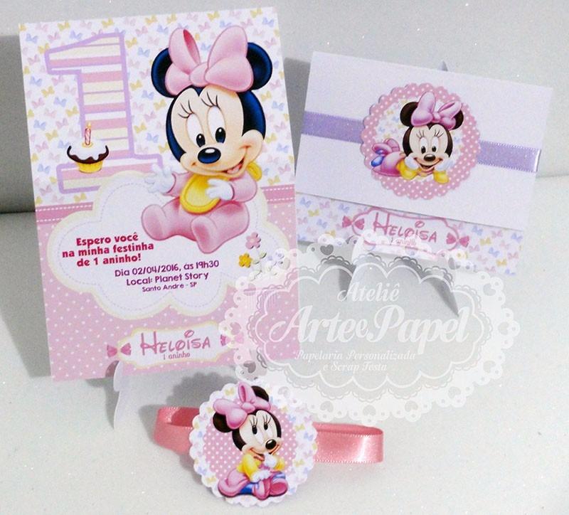 Convite Aniversário Minnie Disney Baby Minie 10 Unidades R 3999