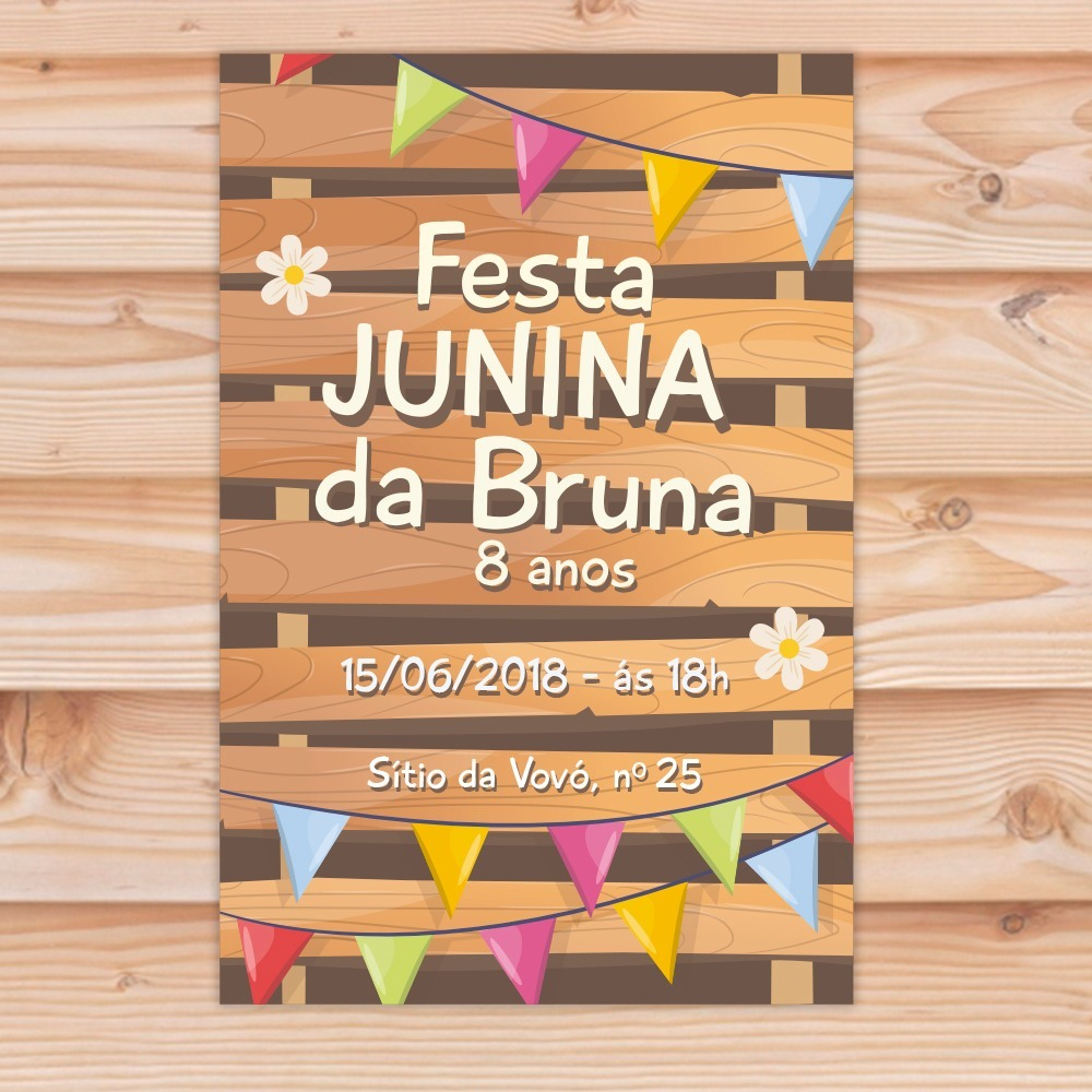 Convite Aniversário Tema Festa Junina Menina Arte Digital R 29