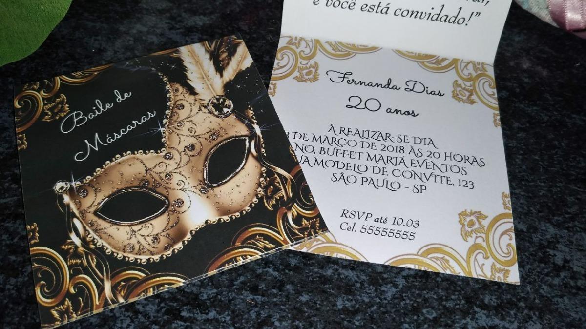 Convite Baile De Mascaras Db44 - Kit 70 Unidades - R$ 104