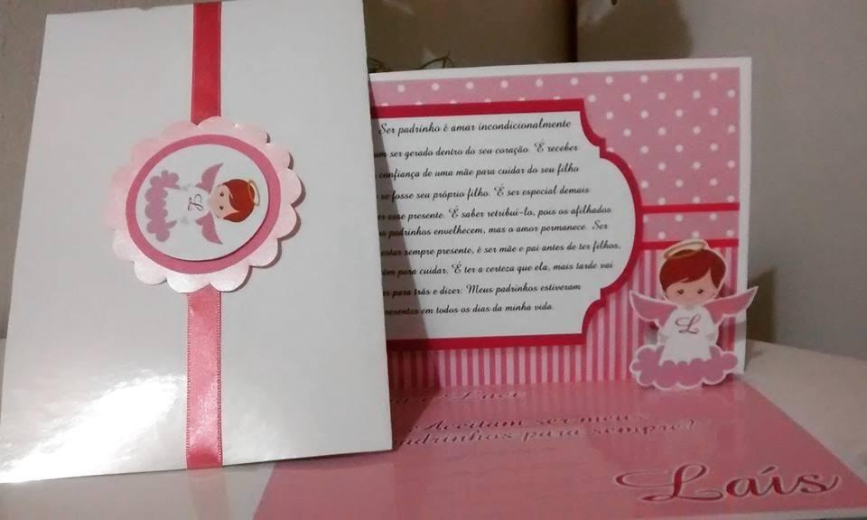 Convite Batizado Anjo Menina Rosa Com Branco 10 Unidades R 3000