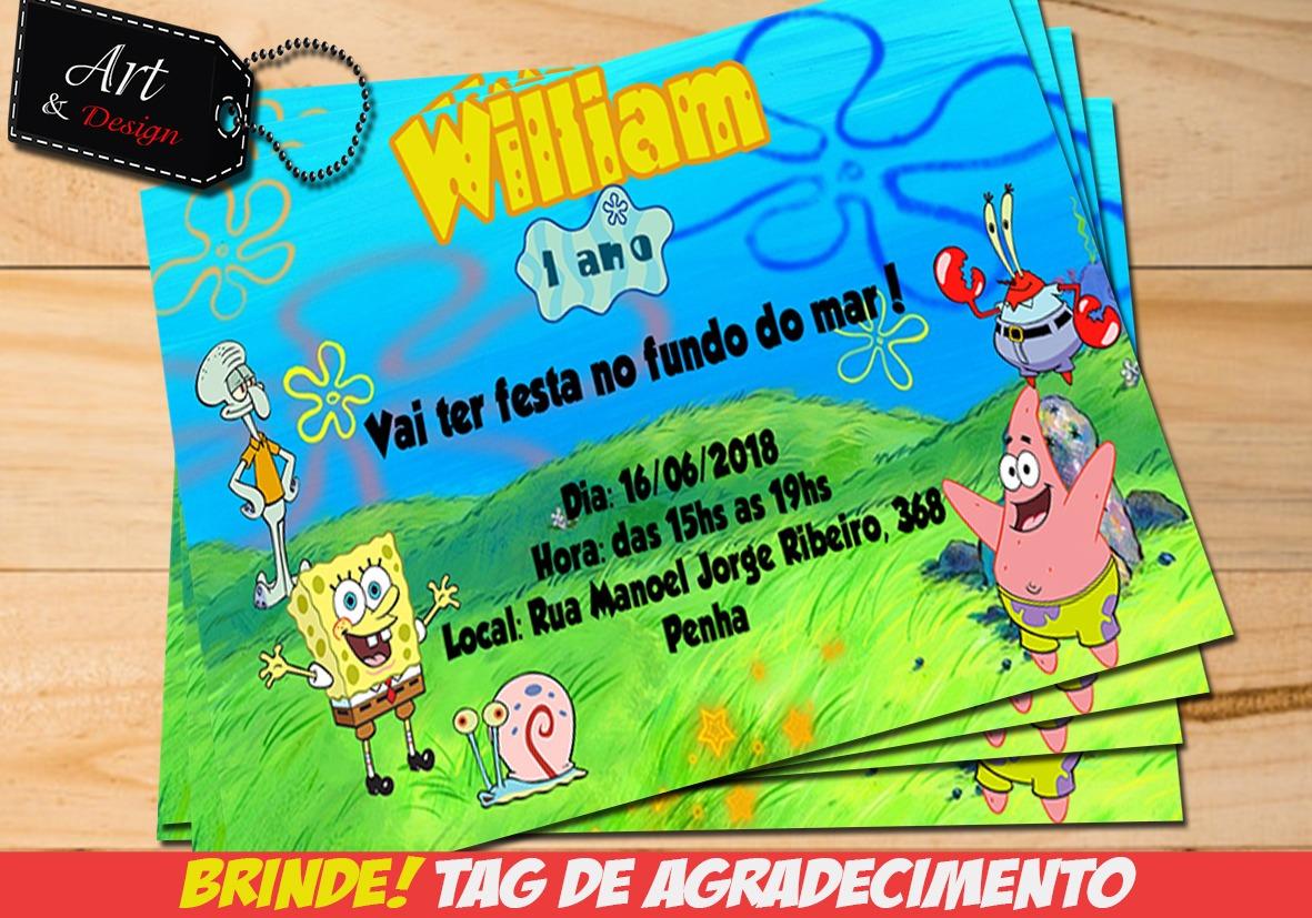 Convite Bob Esponja Arte Digital Tag De Brinde M01 R 1200 Em