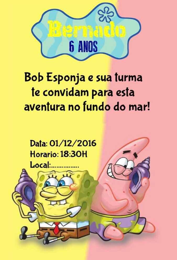 Convite Bob Esponja Convite Digital Para Whatsapp R 1000 Em