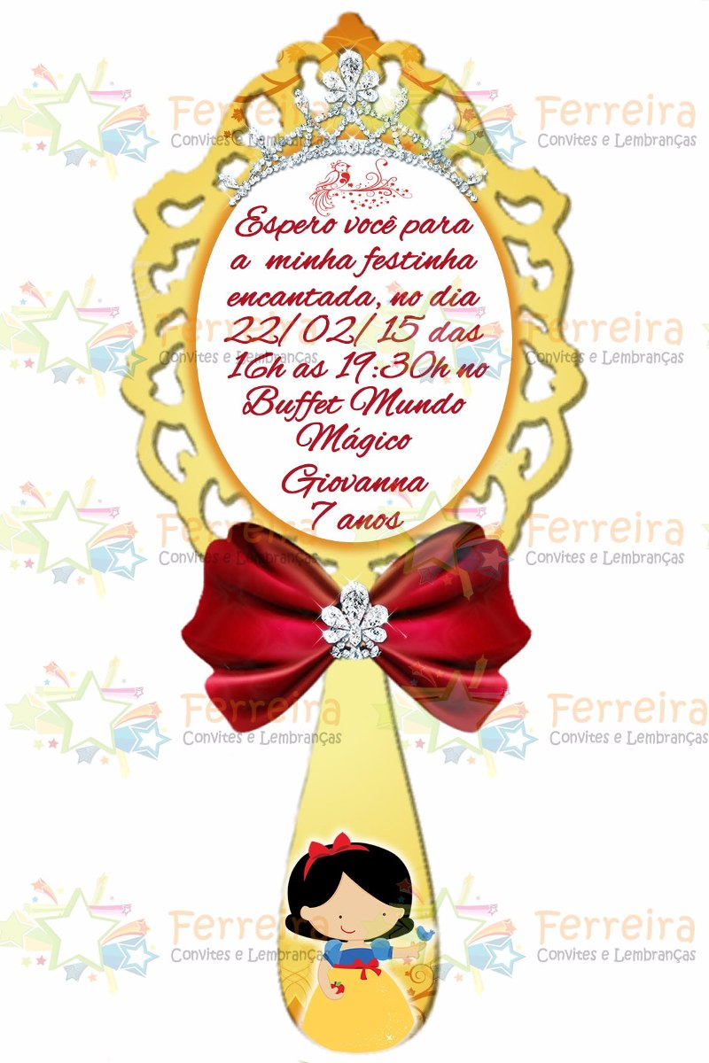 Convite Branca De Neve Espelho Em Pvc Com Imã Kit 60 Uni R 149