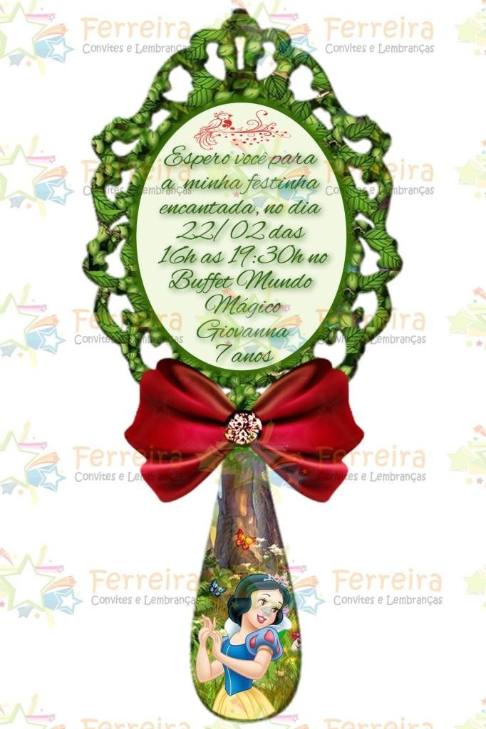Convite Branca De Neve Espelho Em Pvc Com Imã Kit 70 Uni R 174