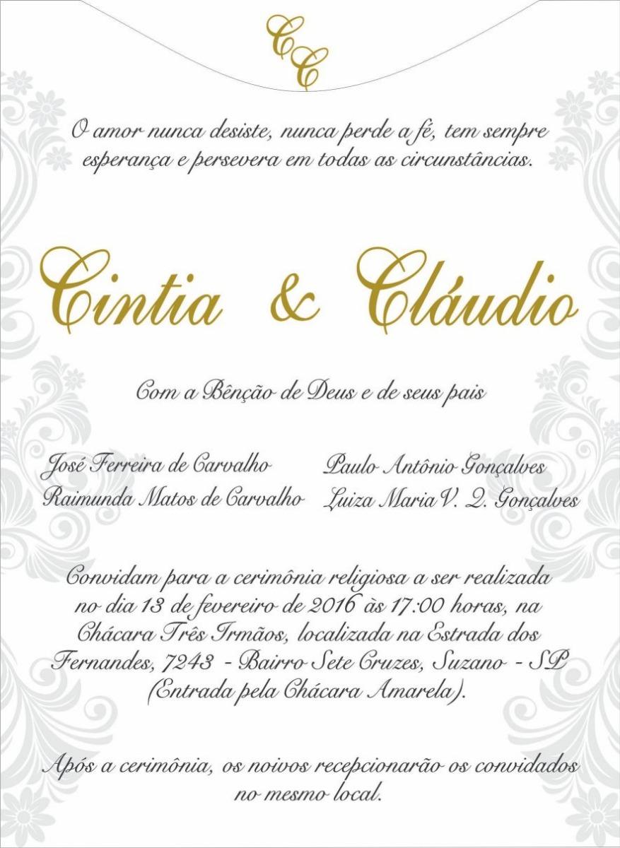 Convite Casamento Branco 180g Sem Envelope 25 Unidades R 5500 Em