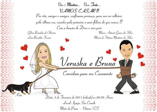 convite casamento com caricatura ou com quadrinhos