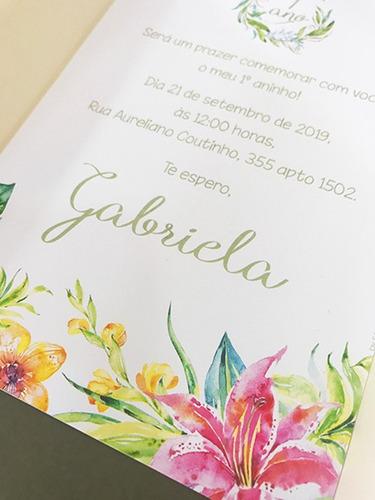 convite casamento papel off-white impressão colorida