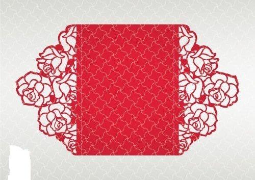Convite Casamento Rendado Rosas Atlanta Arquivo De Corte