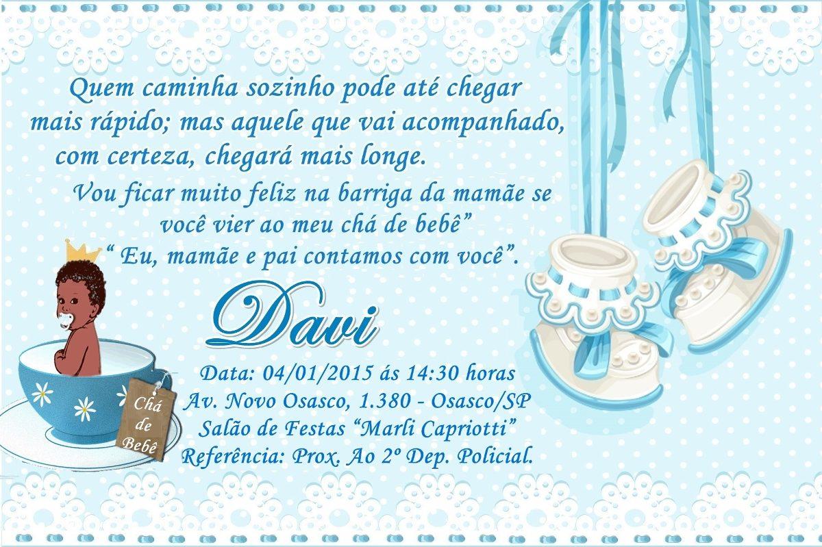 Mensagem De Convite De Cha De Fralda: 40 Convite + Envelopes E Adesivos Chá De Fraldas Ou De