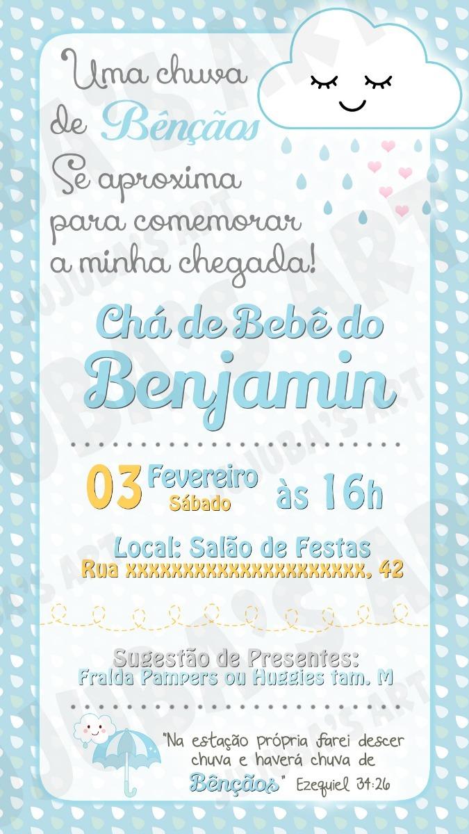 Convite Digital Chá De Bebê Chuva Bençãos Amor Para Whatsapp R 15