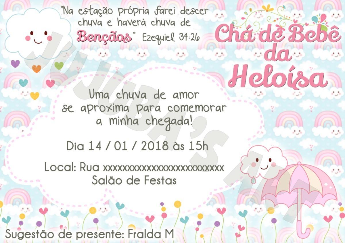Arte Digital Convite Chá De Bebê Menina Chuva De Bençãoamor R 15