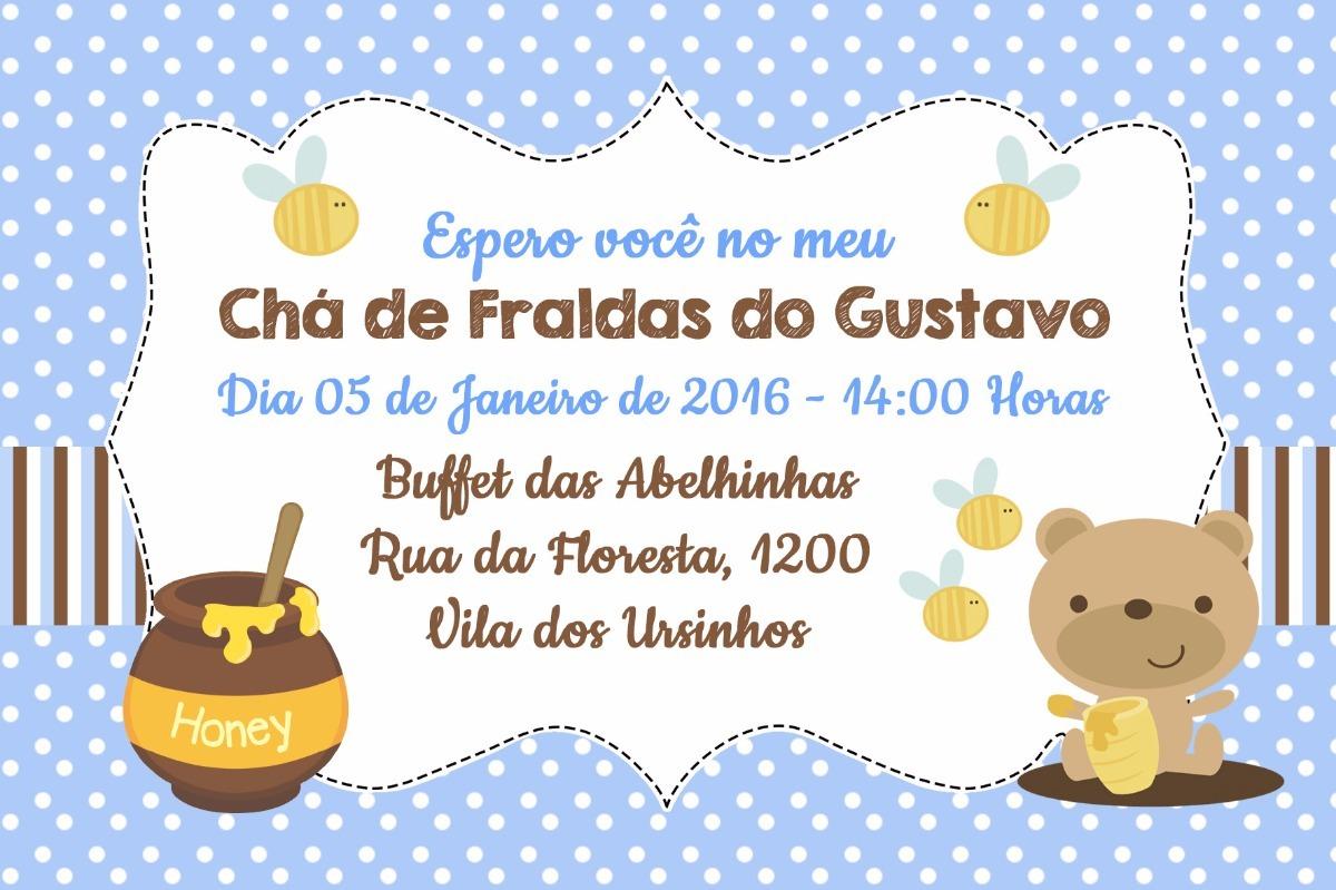 Arte Convite Digital Chá De Fraldas Bebê Menino Urso R 1600 Em