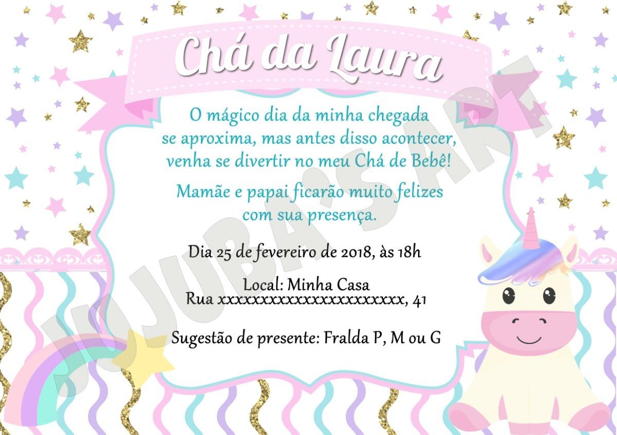Arte Digital Convite Unicórnio Chá De Bebê Chá De Fraldas R 1500