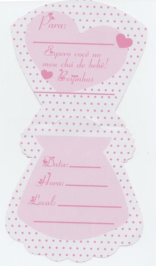 Convite Cha Bebe Vestido Rosabranco 10 Convites