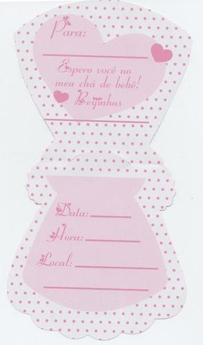 convite cha bebe vestido rosa/branco (10 convites)