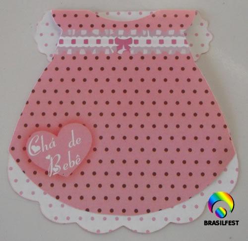 convite cha bebe vestido rosa/marrom (10 convites)
