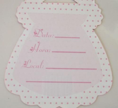 convite cha bebe vestido rosa/marrom (10 unidades)
