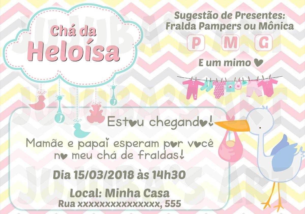 Arte Digital Convite Chá De Fraldas Chá De Bebê Cegonha R 1500