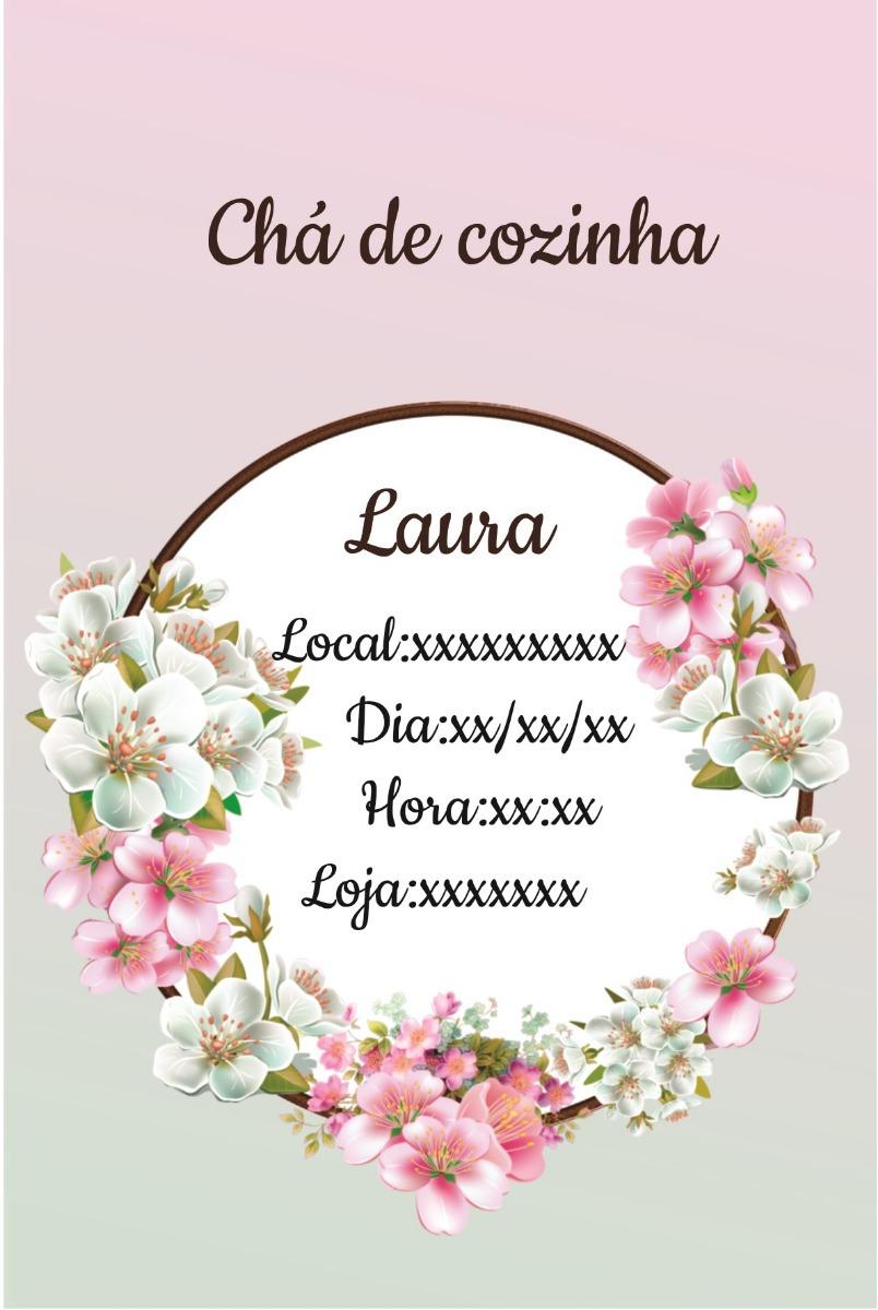 Arte Digital Convite Ch De Cozinha Floral R 13 00 Em Mercado  ~ Lista Chá De Cozinha Pronta