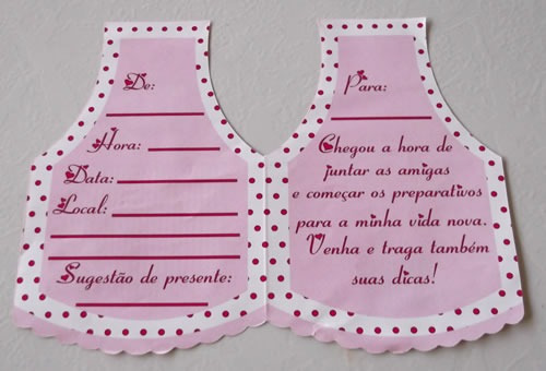 convite cha cozinha rosa/marrom (10 convites)