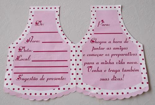 convite cha cozinha rosa/marrom (10 unidades)