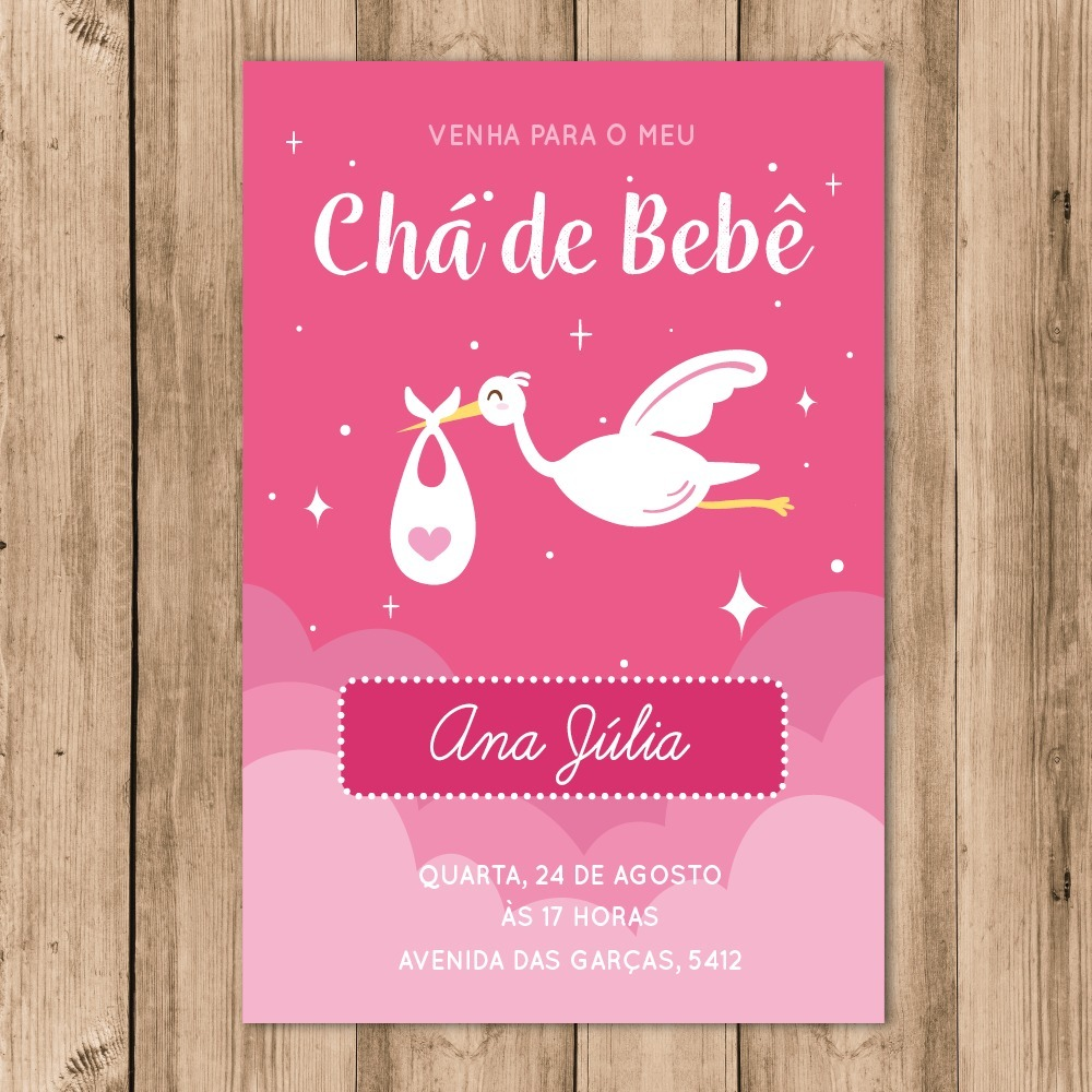 Convite Chá De Bebê Digital Cegonha Rosa 10x15 Whatsapp R 2880