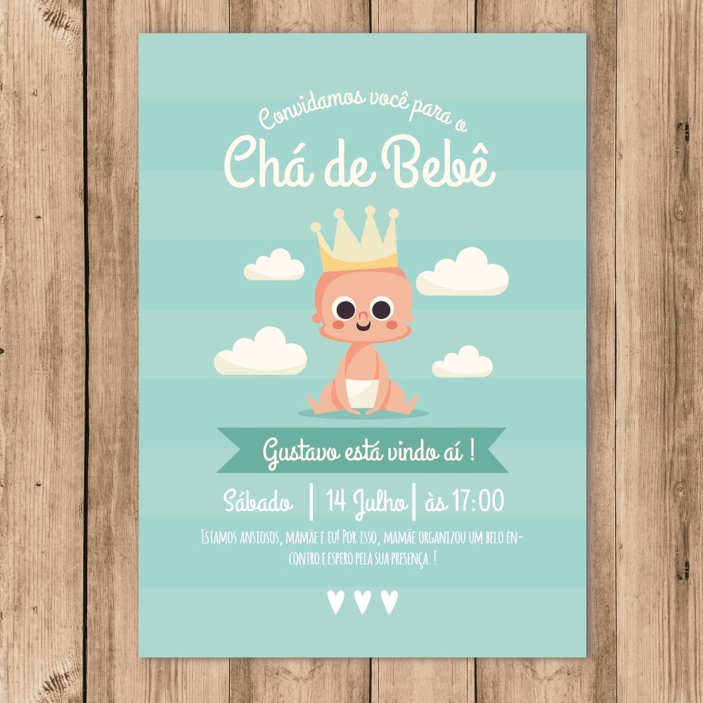 Convite Chá De Bebê Digital Príncipe Menino 10x15 R 2880 Em
