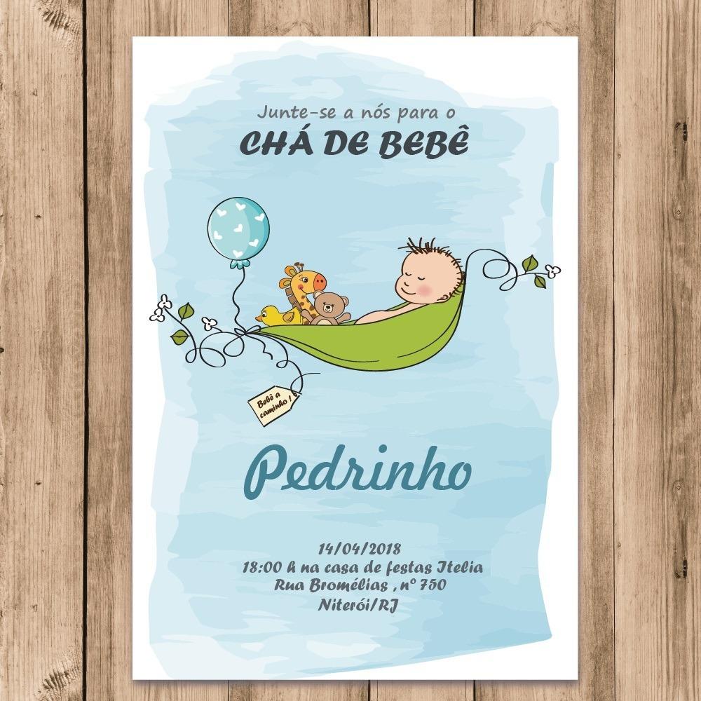 Convite Cha De Bebe Menino Digital Vem Ai Azul Para Imprimir R