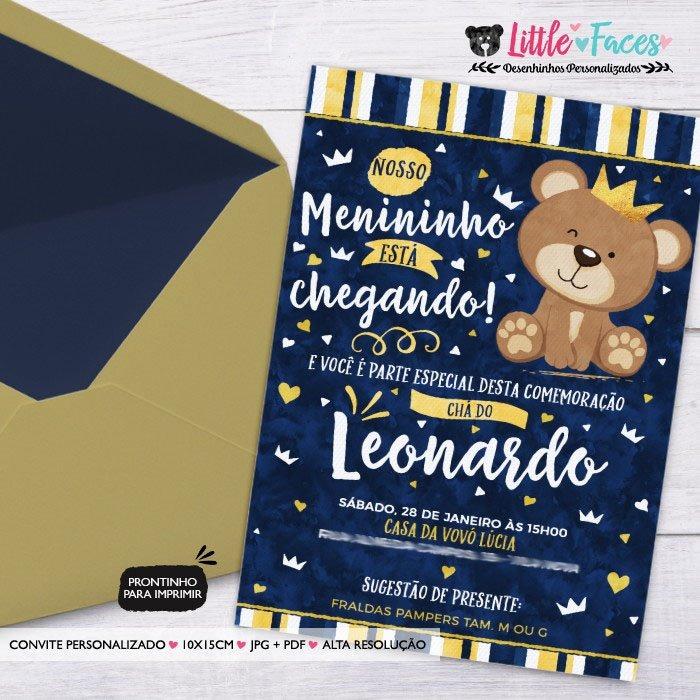 Convite Cha De Bebe Ursinho Marrom Azul R 39 00 Em Mercado Livre