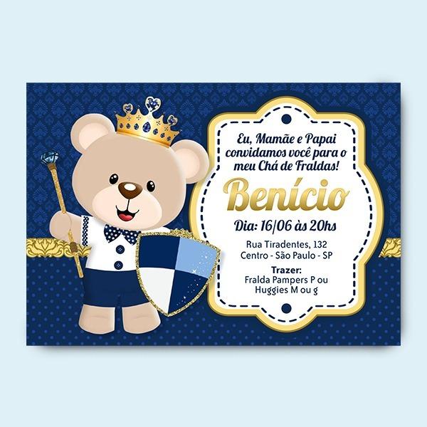 Convite Chá De Bebê Ursinho Principe Digital Whatsapp R 2000