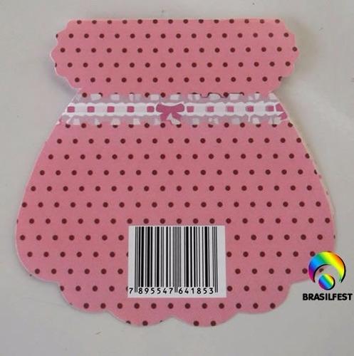 convite chá de bebê vestido rosa c/ poá marrom (10 unid.)