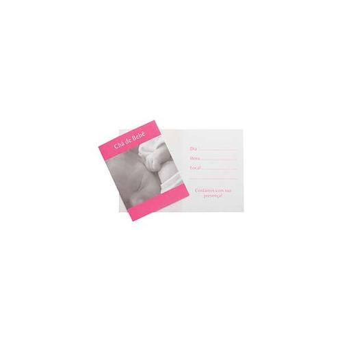 convite cha de bebe bebe rosa peq. c/10 unid.
