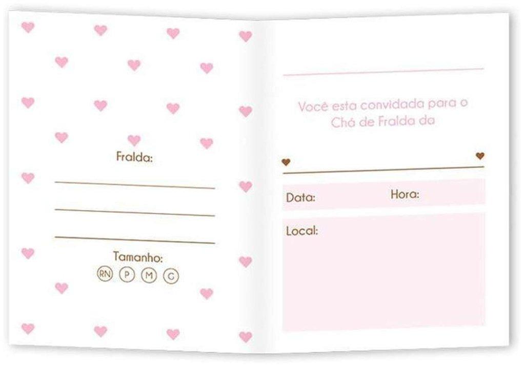 Convite Cha De Bebe Fraldas Cegonha Rosa 100 Unidades R 4911 Em