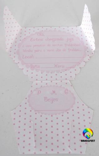 convite cha de fralda rosa/branco (10 convites)
