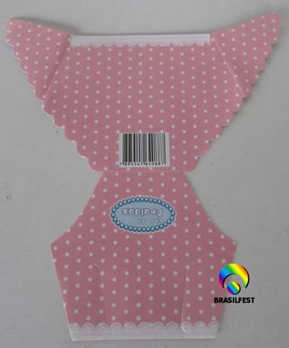 convite cha de fralda rosa/branco (10 unidades)