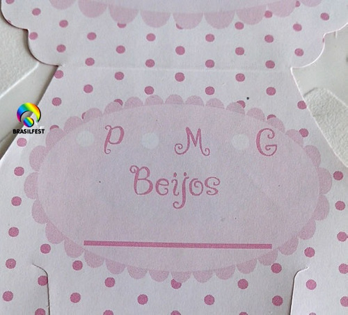 convite cha de fralda rosa/marrom (10 convites)