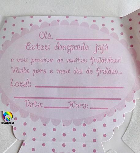 convite cha de fralda rosa/marrom (10 unidades)