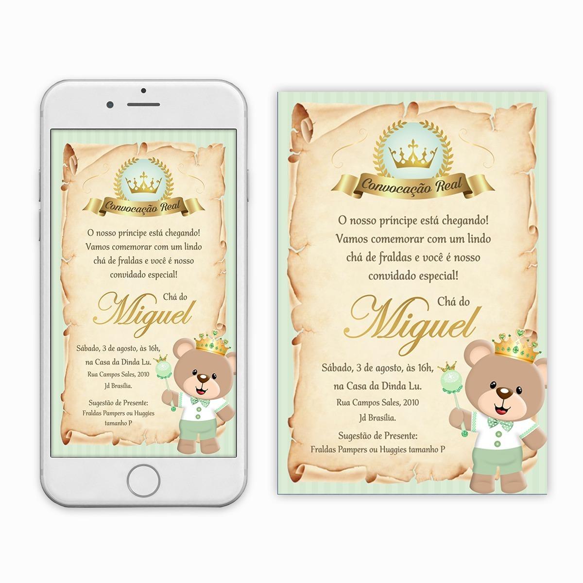 Convite Cha De Fraldas Menino Pergaminho Imprimir Digital R 27