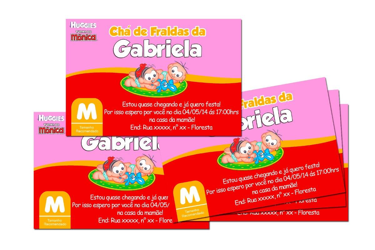 Convite Chá De Fraldas Pampers Ou Turma Da Mônica 50 Und R 59