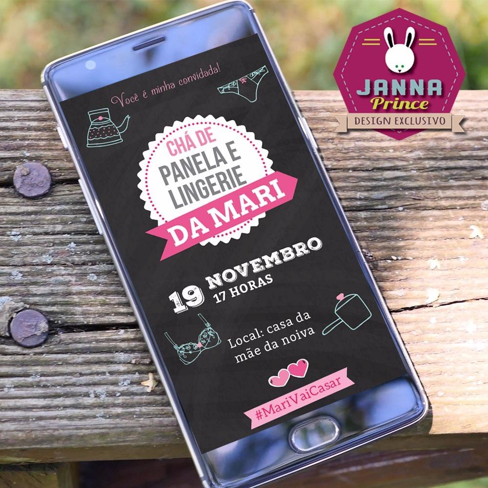 Convite Chá De Lingerie Chalkboard Digital Whatsapp