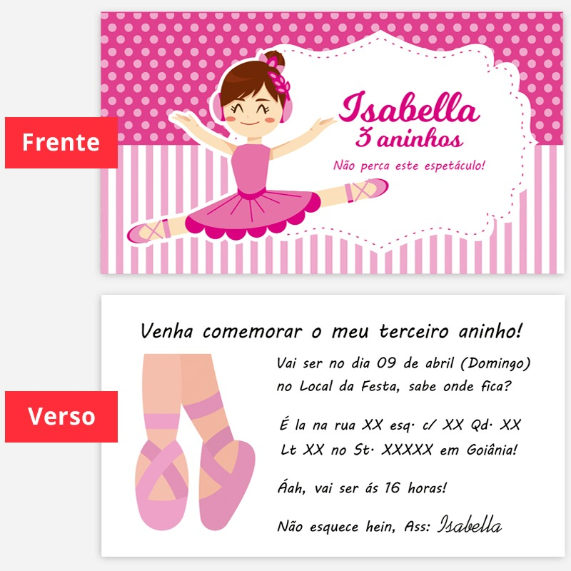 244e1dfaa4 convite de aniversario bailarina rosa 100 un. 9x5cm. Carregando zoom.