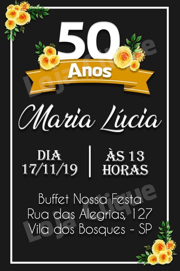 Convite De Aniversario Digital Feminino 50 Anos Preto Rosas R