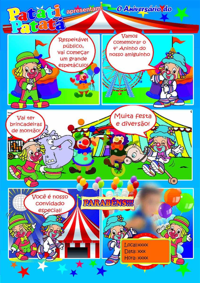 Convite De Aniversário Patati Patatá Em Quadrinhos R 1200 Em