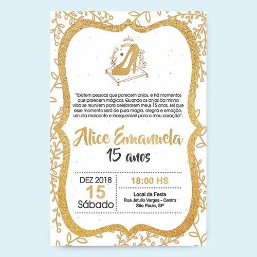 Convite De Aniversario Quinze Anos P Whatsapp Ou Imprimir R 20